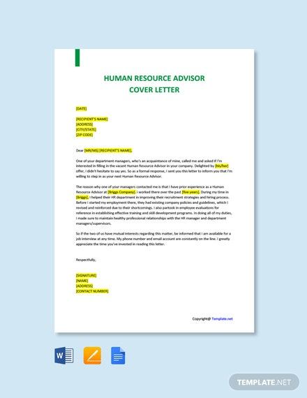 Free Human Resource Advisor Cover Letter Template