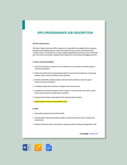 Free RPG Programmer Job Ad/Description Template