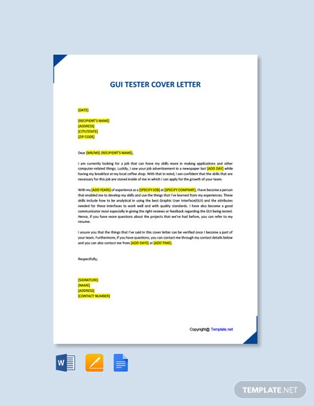 Free GUI Tester Cover Letter Template