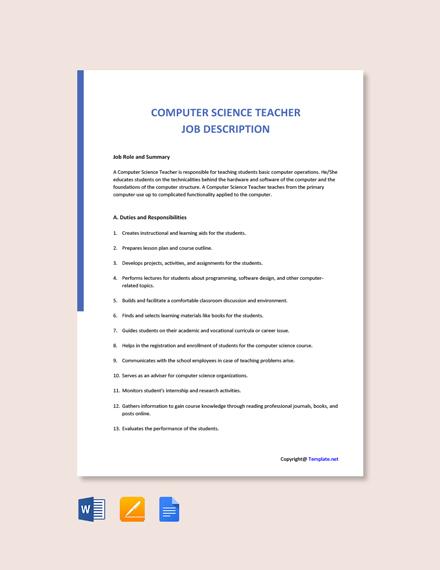 Free Computer Science Teacher Job Ad/Description Template