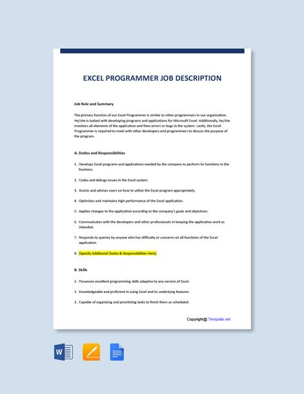 Free Excel Programmer Job Ad/Description Template