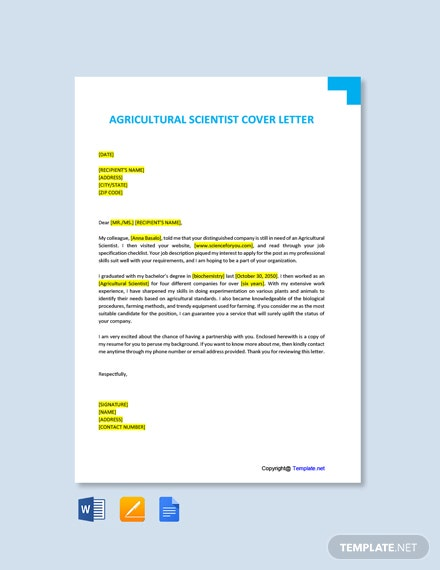 Free Agricultural Scientist Cover Letter Template