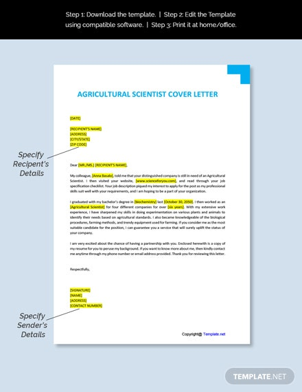 Agricultural Scientist Cover Letter Template