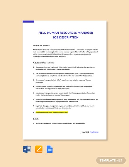 Free Field Human Resources Manager Job Ad/Description Template