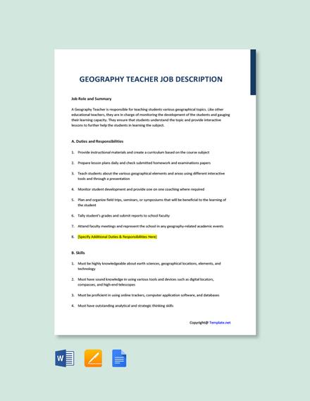 Free Geography Teacher Job Description Template