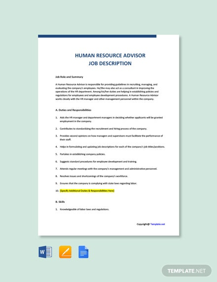 Free Human Resource Advisor Job Description Template