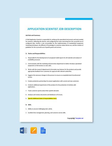 Free Application Scientist Job Description Template
