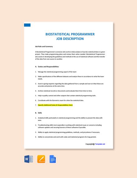 Free Biostatistical Programmer Job Ad/Description Template