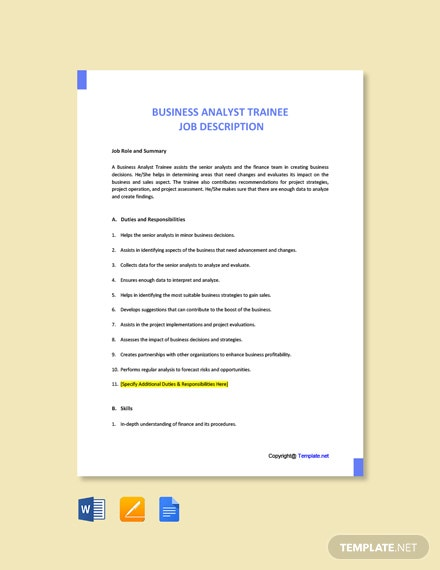 Free Business Analyst Trainee Job Ad/Description Template