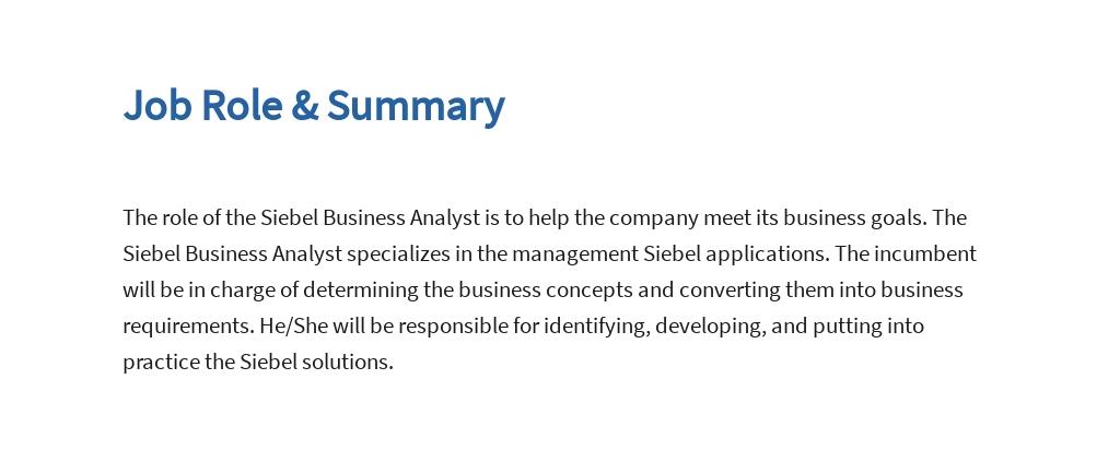 Free Siebel Business Analyst Job Ad/Description Template 2.jpe