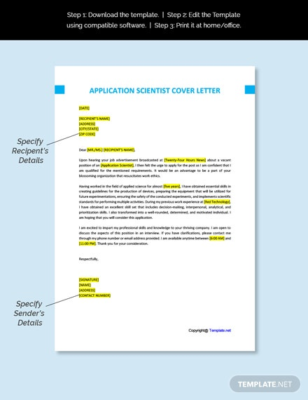 Application Scientist Cover Letter Template