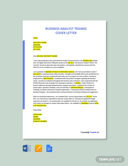 Free Business Analyst Trainee Cover Letter Template