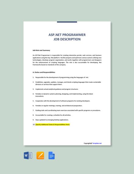 Free ASP.Net Programmer Job Description Template
