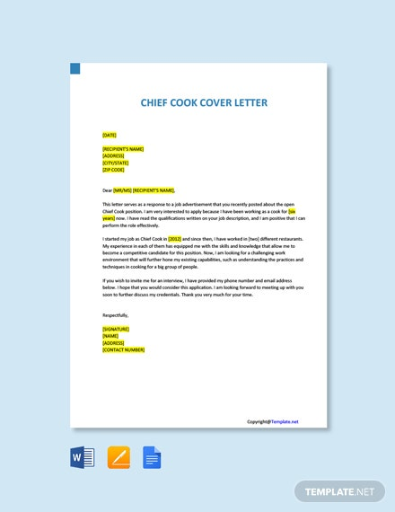 Free Chief Cook Cover Letter Template