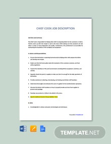 Free Chief Cook Job Description Template