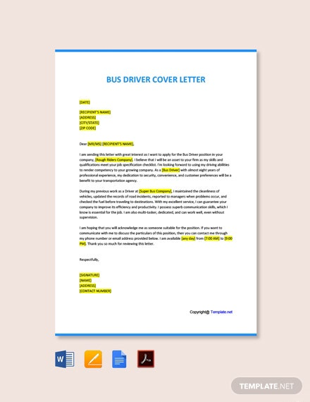 Free Bus Driver Cover Letter Template