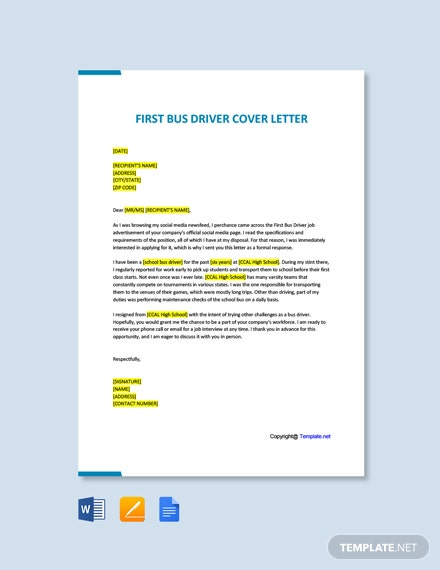 Free First Bus Driver Cover Letter Template
