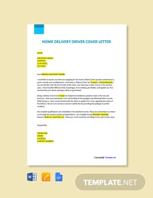 Free Home Delivery Driver Cover Letter Template