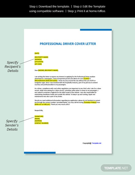 Professional Driver Cover Letter Template