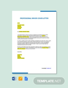 Free Professional Driver Cover Letter Template