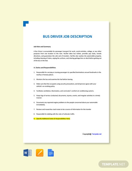 Free Bus Driver Job Ad and Description Template