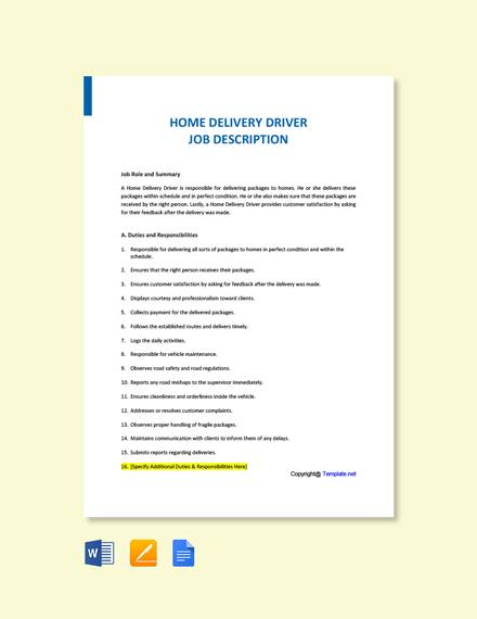 Free Home Delivery Driver Job Description Template