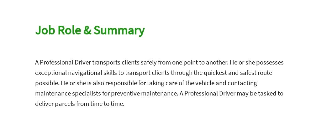 Free Professional Driver Job Description Template 2.jpe
