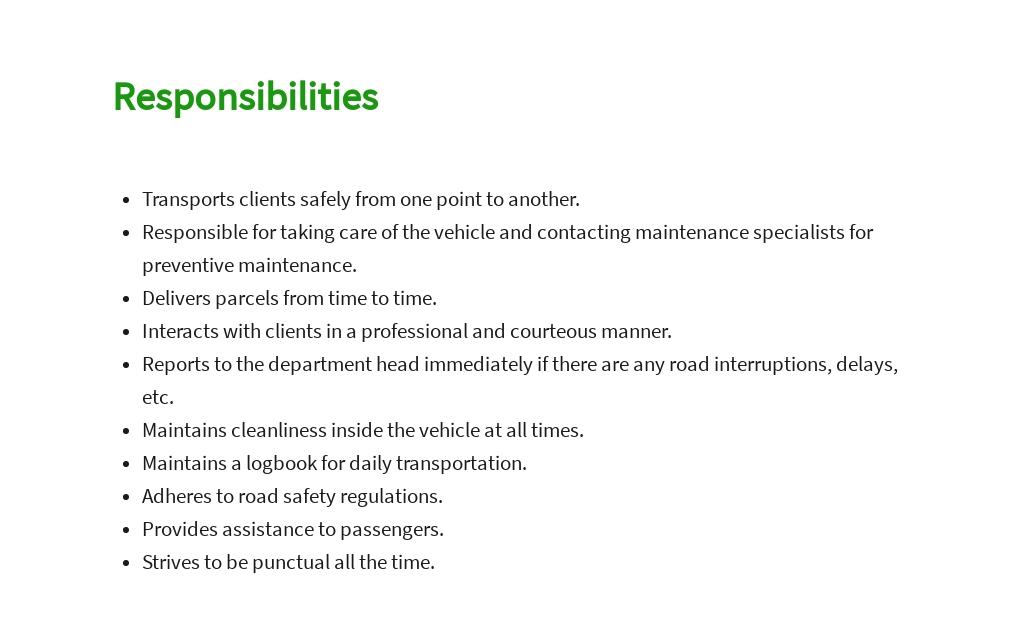 Free Professional Driver Job Description Template 3.jpe