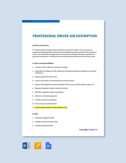 Free Professional Driver Job Description Template