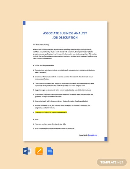 Free Associate Business Analyst Job Description Template