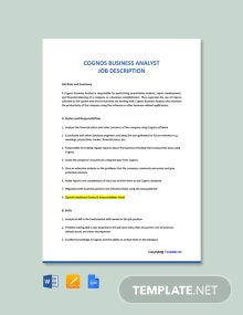 Free Cognos Business Analyst Job Ad and Description Template