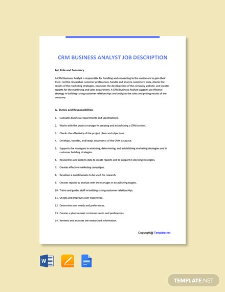 Free CRM Business Analyst Job Ad and Description Template