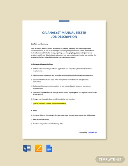 Free QA Analyst Manual Tester Job Ad and Description Template