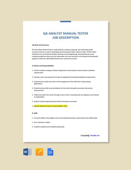 Free QA Analyst Manual Tester Job Description Template