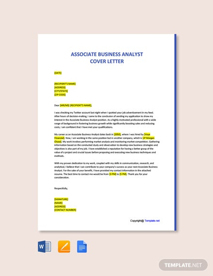 Free Associate Business Analyst Cover Letter Template