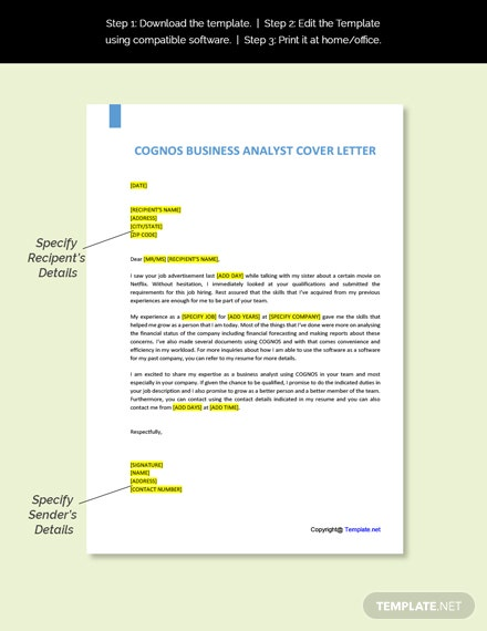 Cognos Business Analyst Cover Letter Template