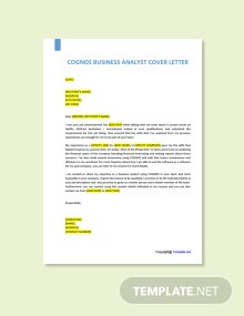Free Cognos Business Analyst Cover Letter Template