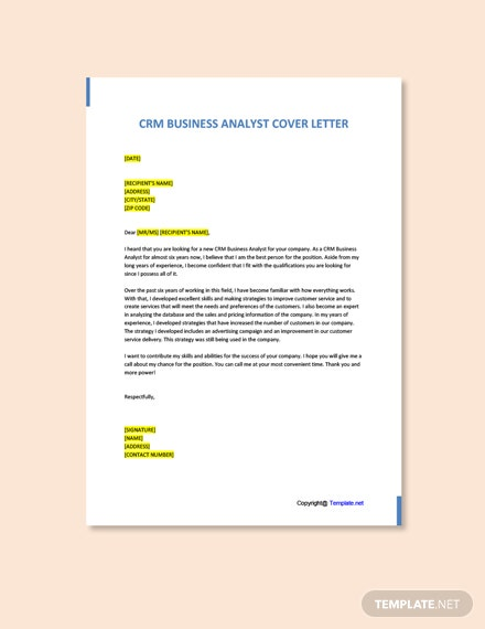 Free CRM Business Analyst Cover Letter Template