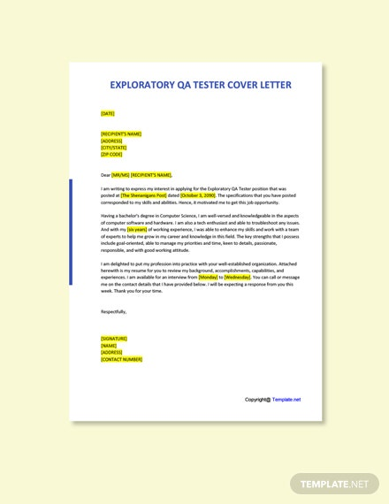Free Exploratory QA Tester Cover Letter Template