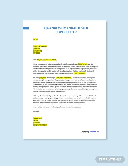 Free QA Analyst Manual Tester Cover Letter Template