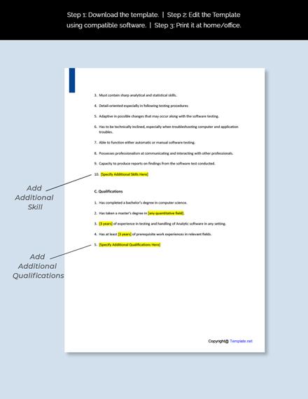 Analytics Software Tester Job Description Template