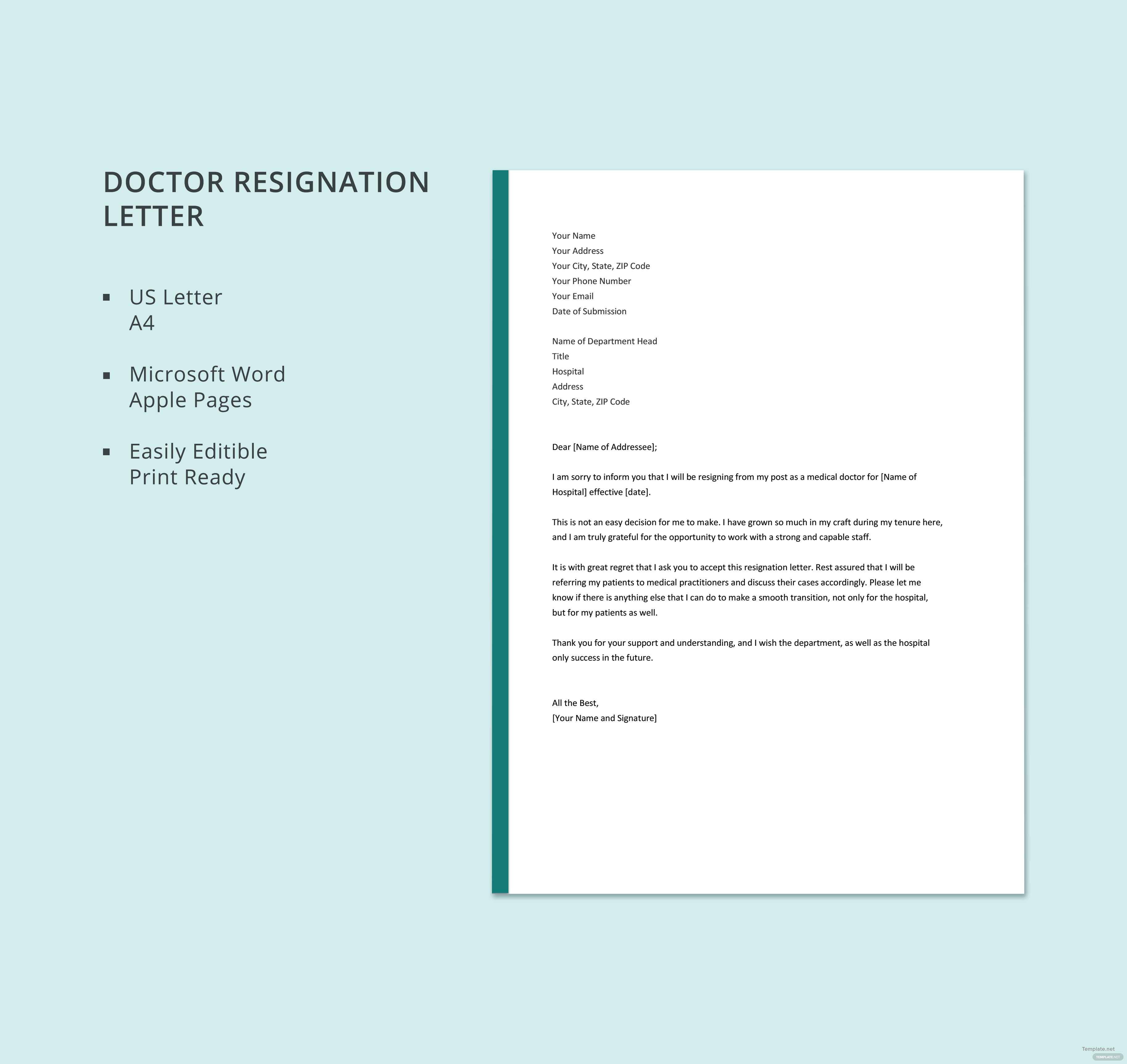 Doctor resignation letter template in microsoft word apple pages doctor resignation letter aljukfo Images