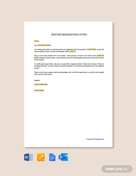 Free Doctor Resignation Letter Template