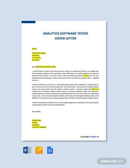 Analytics Software Tester Cover Letter Template