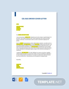 Free CDL Bus Driver Cover Letter Template