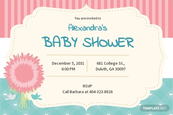 Baby Shower Party Invitation Template
