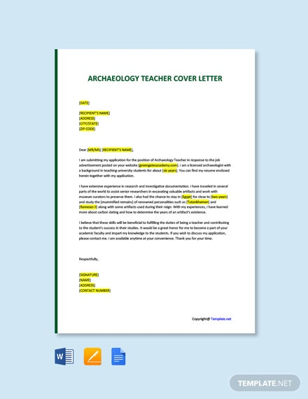 Free Archaeology Teacher Cover Letter Template