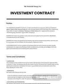 Free Formal Investment Contract Template
