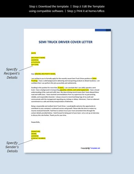 Semi Truck Driver Cover Letter Template