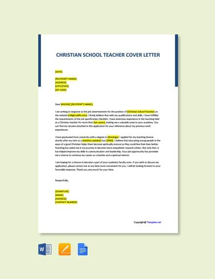 Free Christian School Teacher Cover Letter Template